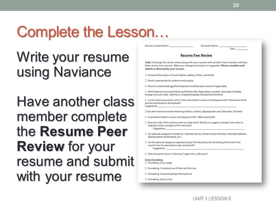 Resume Naviance Family Connection - ppt video online download - how to do your resume