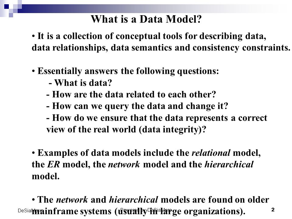 Relational Data Model DeSiaMore Powered by DeSiaMore - ppt video