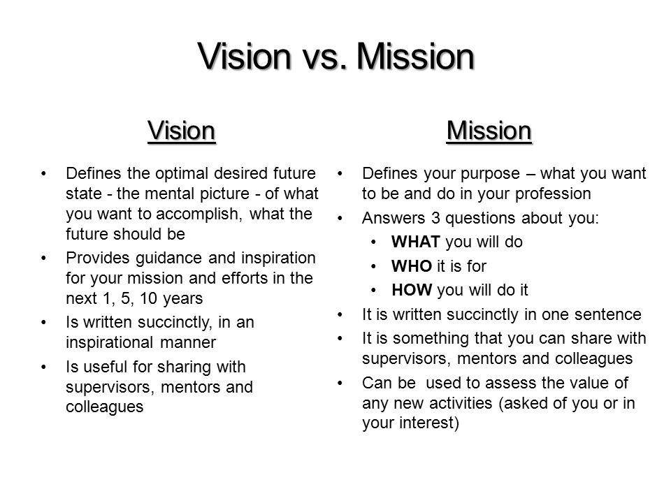 The Professional Mission Statement Defining Your Career Goals - ppt