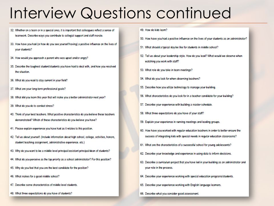 Principal Selection Presentation - ppt video online download - interview questions for teachers