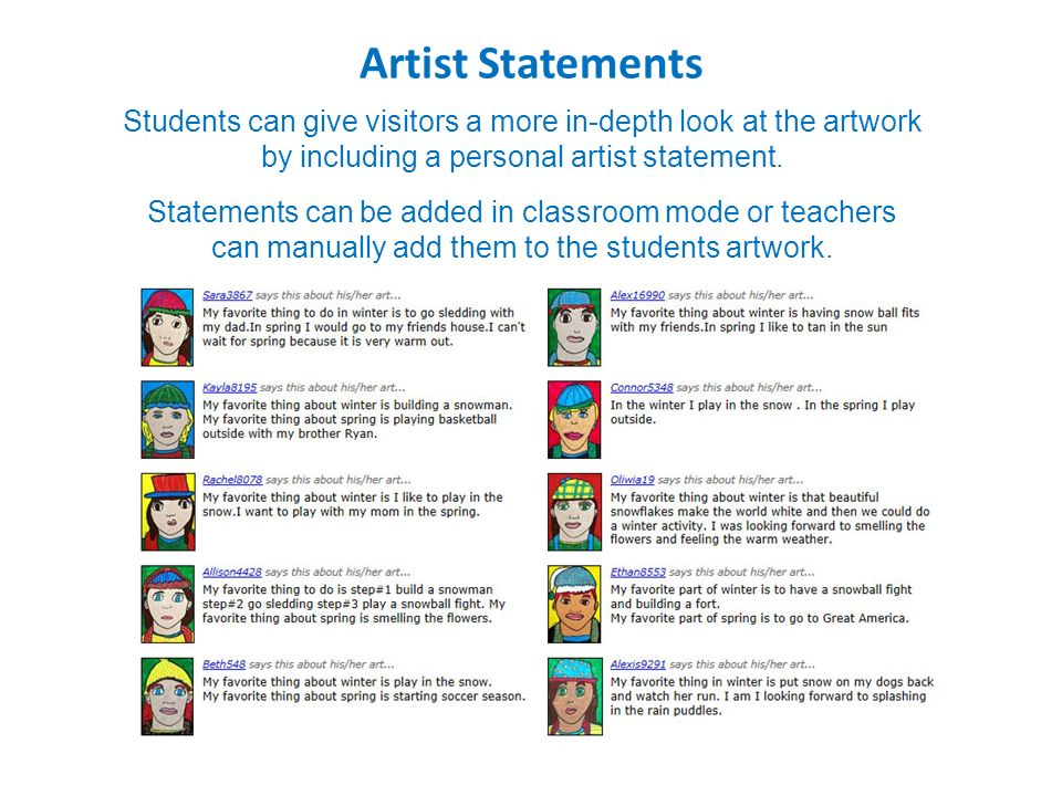 Easy place for visitors to search for students by name or school - sample artist statement