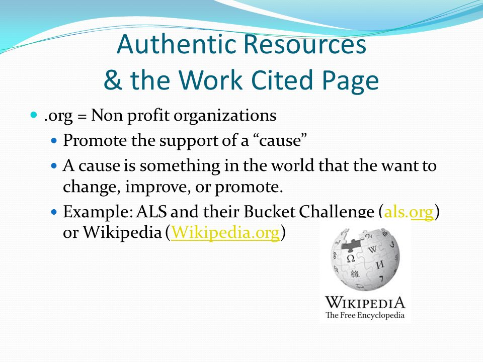 Authentic Resources  the Works Cited Page - ppt video online download