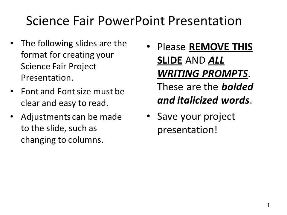 Science Fair PowerPoint Presentation - ppt video online download