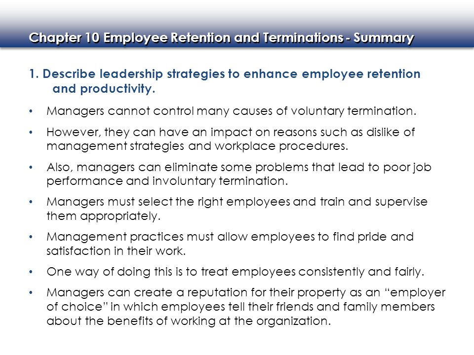 Chapter 10 Employee Retention and Terminations - ppt video online