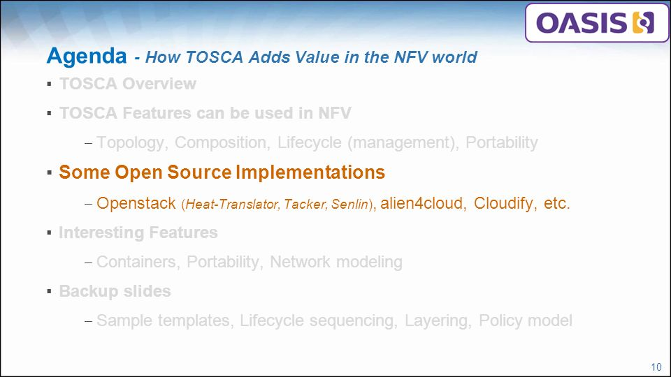 How TOSCA Adds Value in the NFV world - ppt video online download