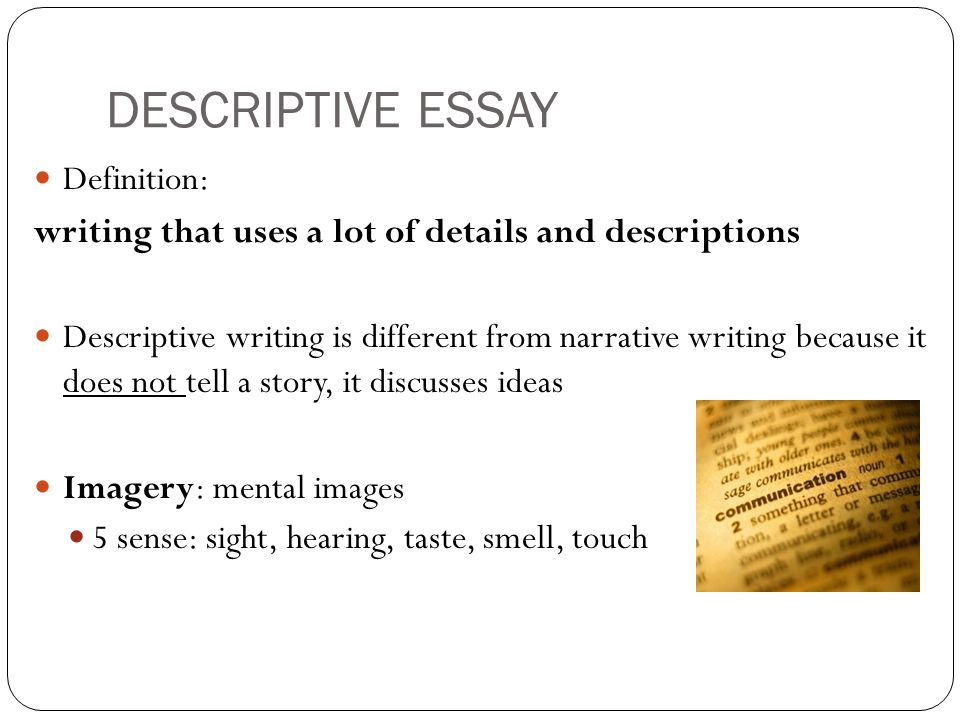 Define descriptive essay writing Homework Academic Service