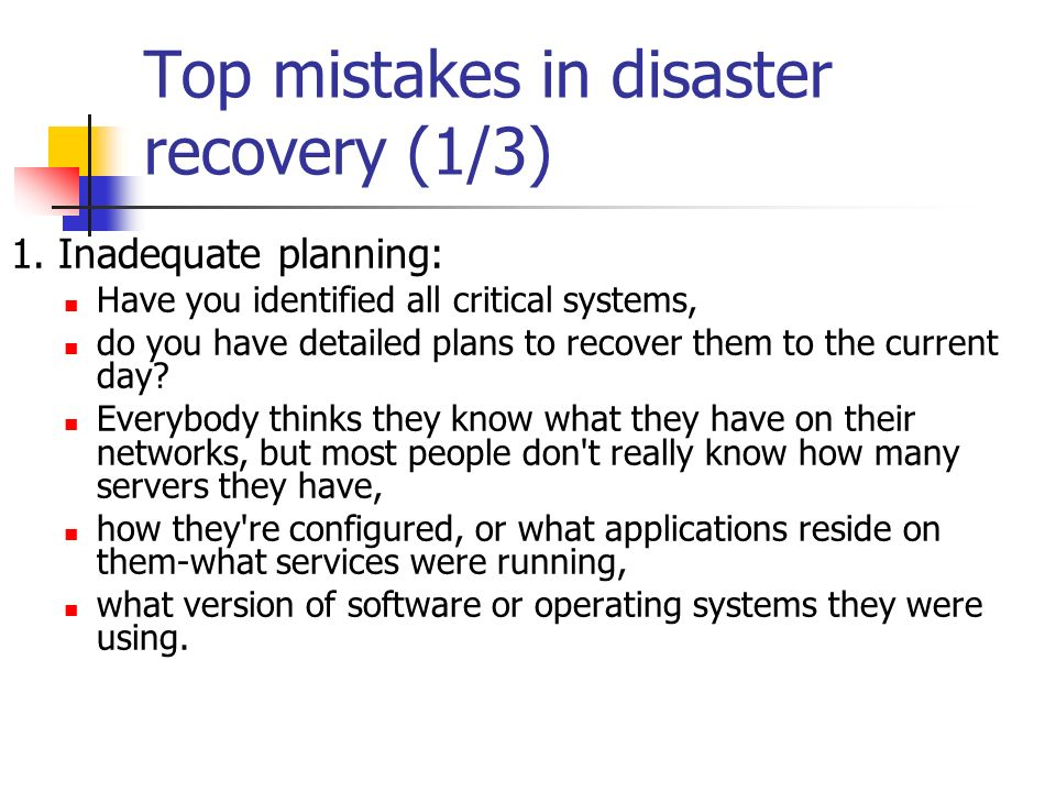 Disaster Recovery Planning (DRP) - ppt download