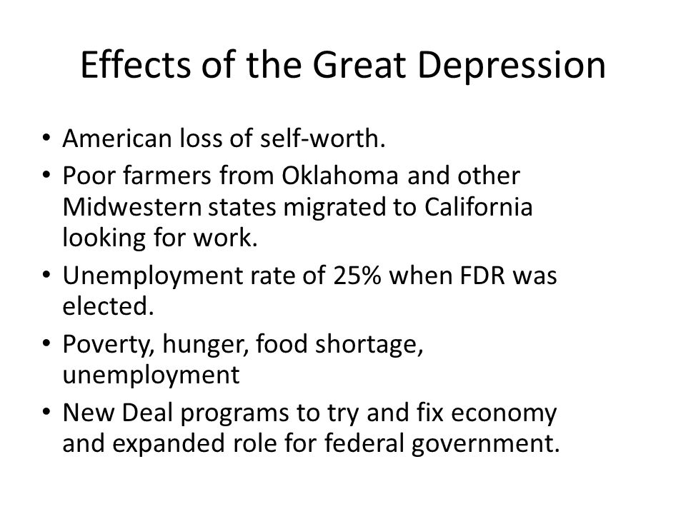 APUSH Great Depression and New Deal (no images) - ppt download