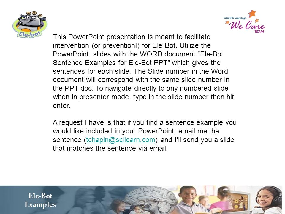 This PowerPoint presentation is meant to facilitate intervention (or