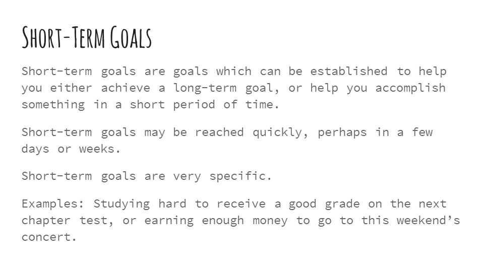 Goal Setting for Teenagers - ppt download