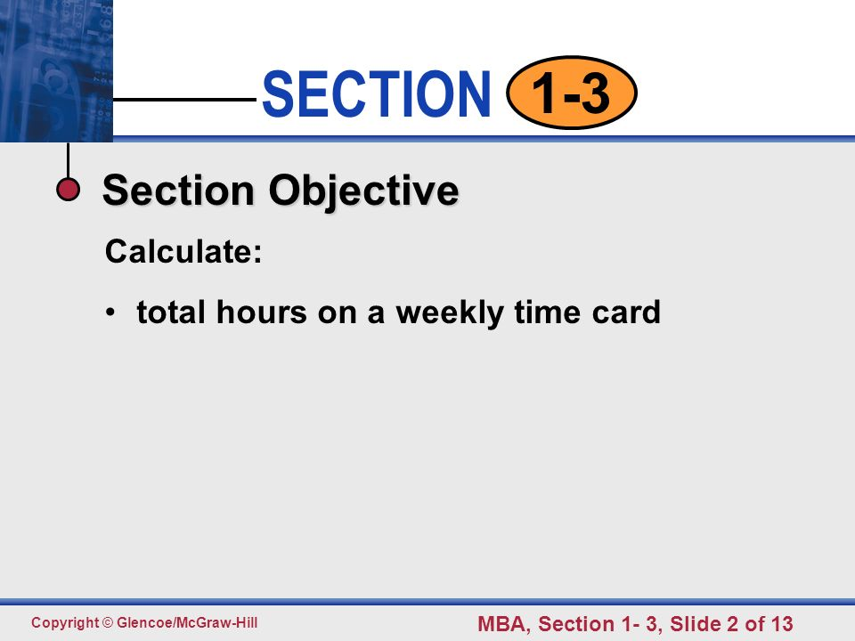 SECTION 1-3 Weekly Time Card pp ppt download