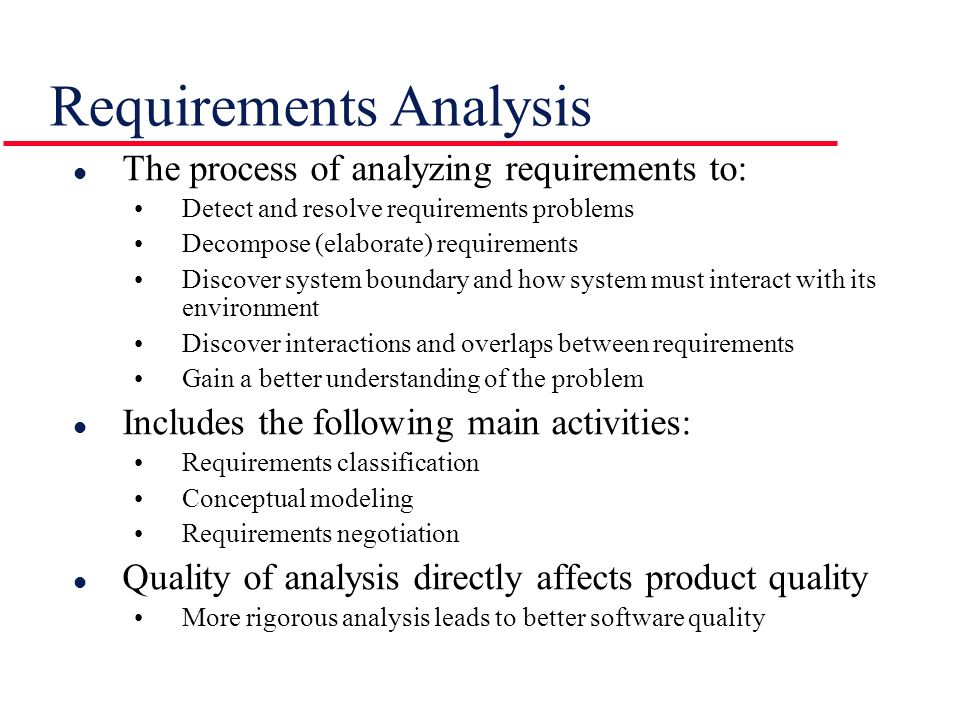 Requirements Analysis - ppt video online download - requirement analysis