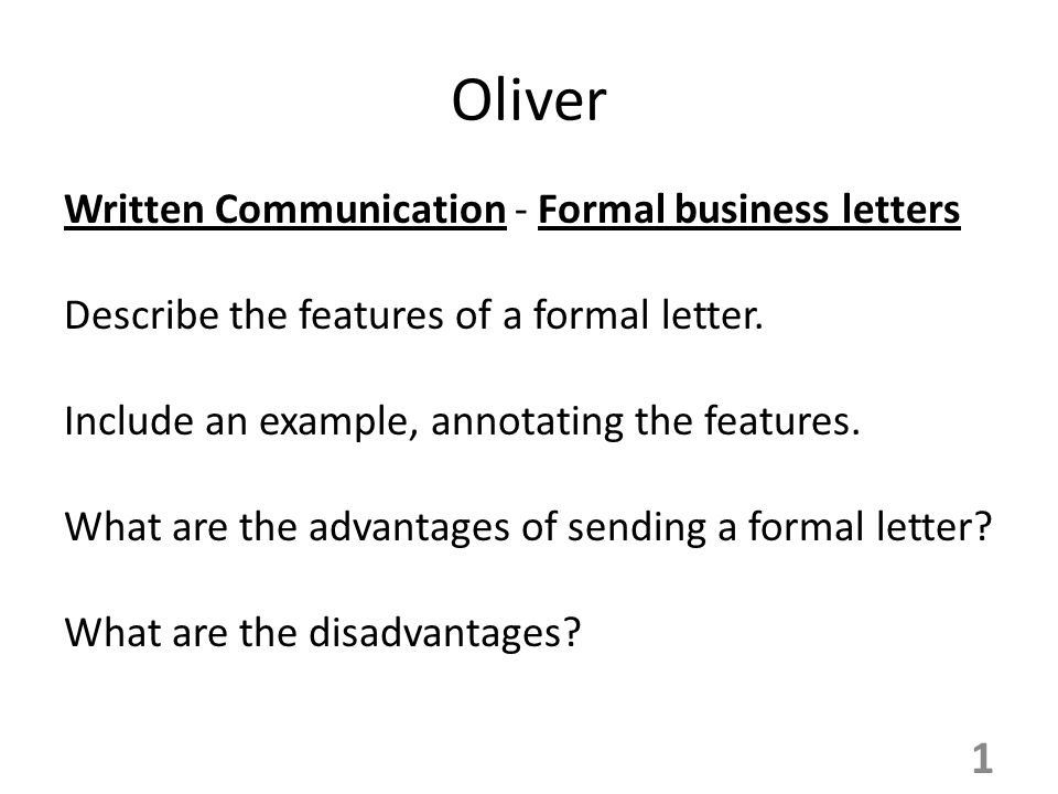 Oliver Written Communication - Formal business letters - ppt video