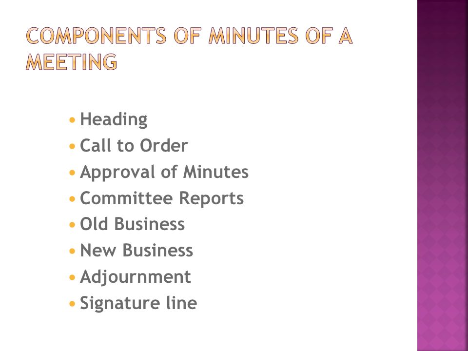 Minutes of a meeting - ppt video online download