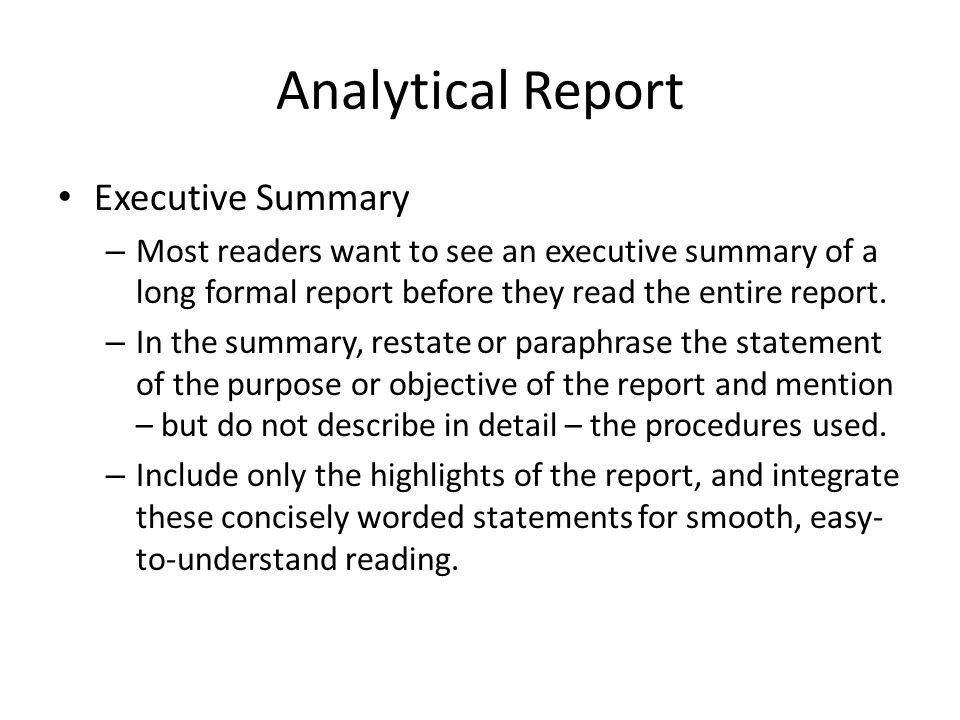 Formal Report - ppt video online download - analytical report format