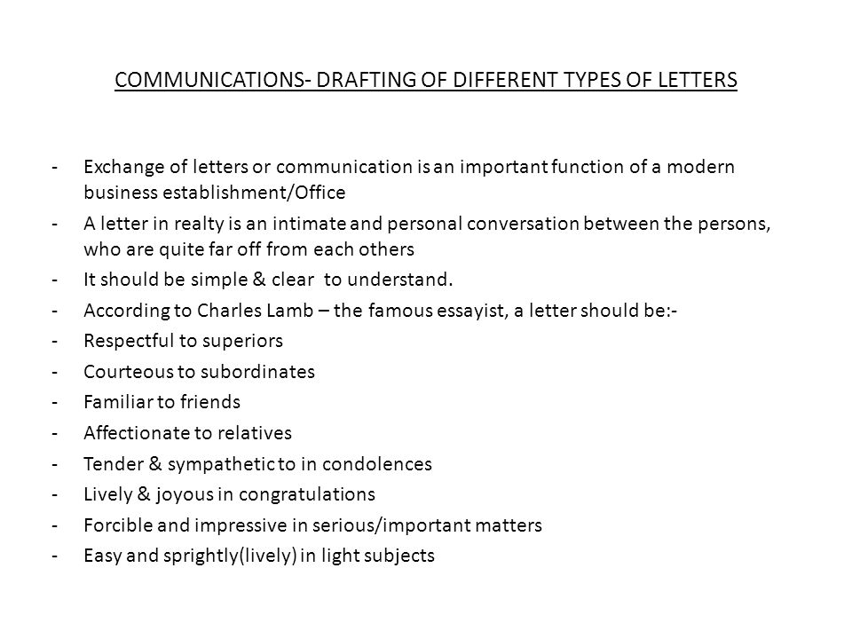 COMMUNICATIONS- DRAFTING OF DIFFERENT TYPES OF LETTERS - ppt download