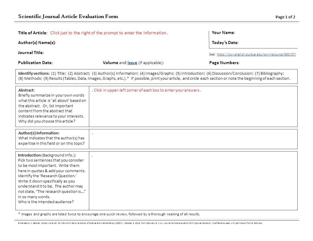 Scientific Journal Article Evaluation Form Ppt Download