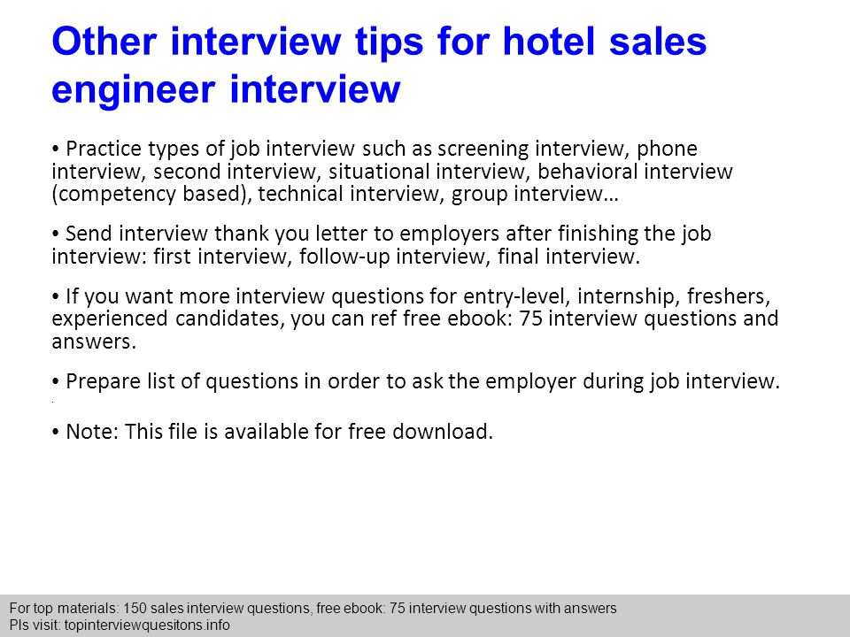 hotel sales engineer interview questions and answers - ppt download