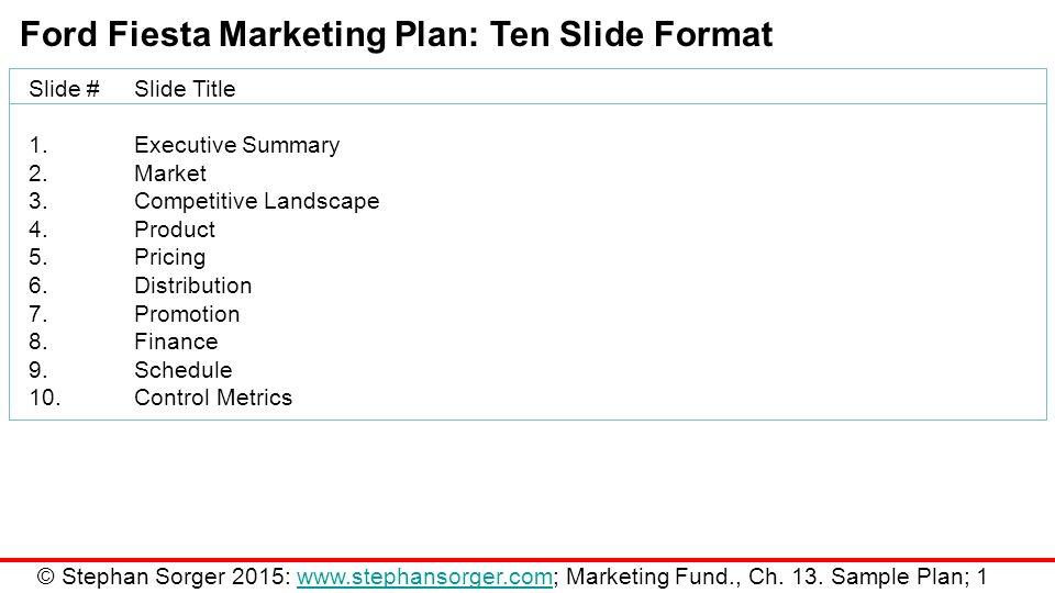 Marketing Fundamentals Chapter 13 Sample Marketing Plan - ppt download