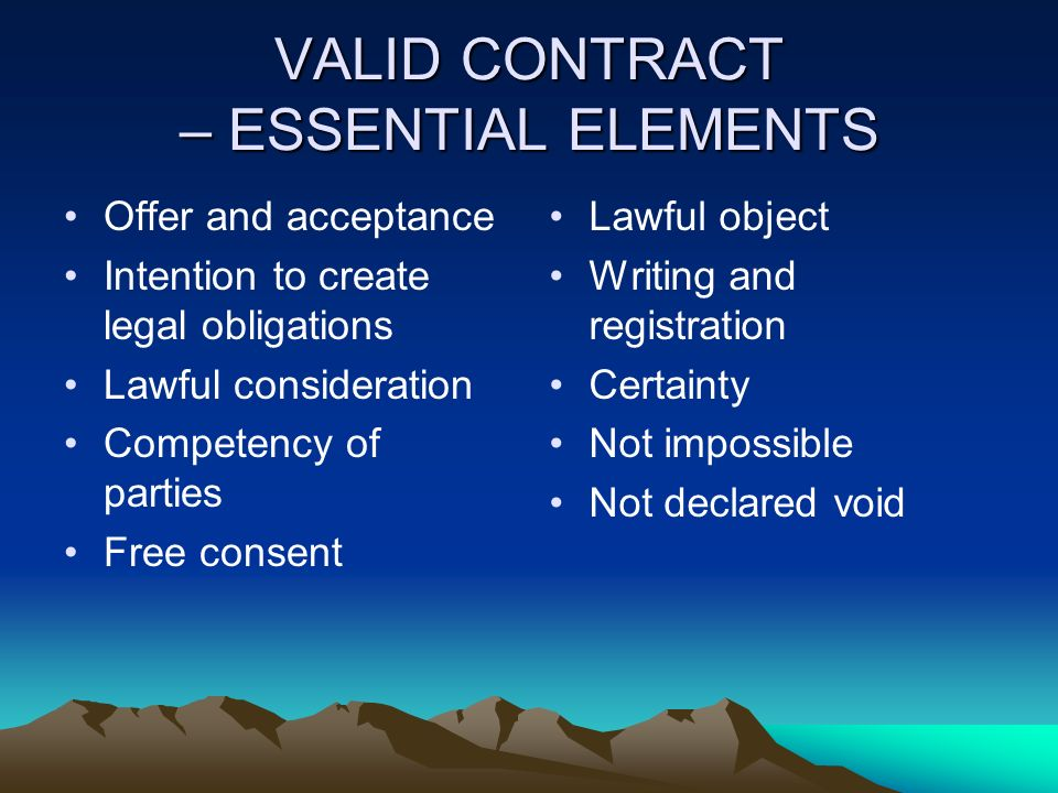 Contract Essential Elements | Valid Contract Essential Elements Colbro Co