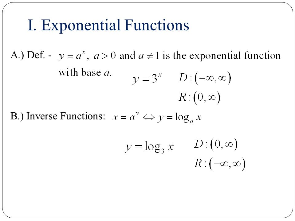 Derivatives of Exponential and Logarithmic Functions - ppt download