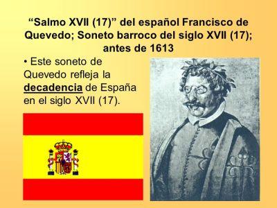 """""""Salmo XVII (17)"""" del español Francisco de Quevedo; Soneto barroco del siglo XVII (17); antes de ..."""