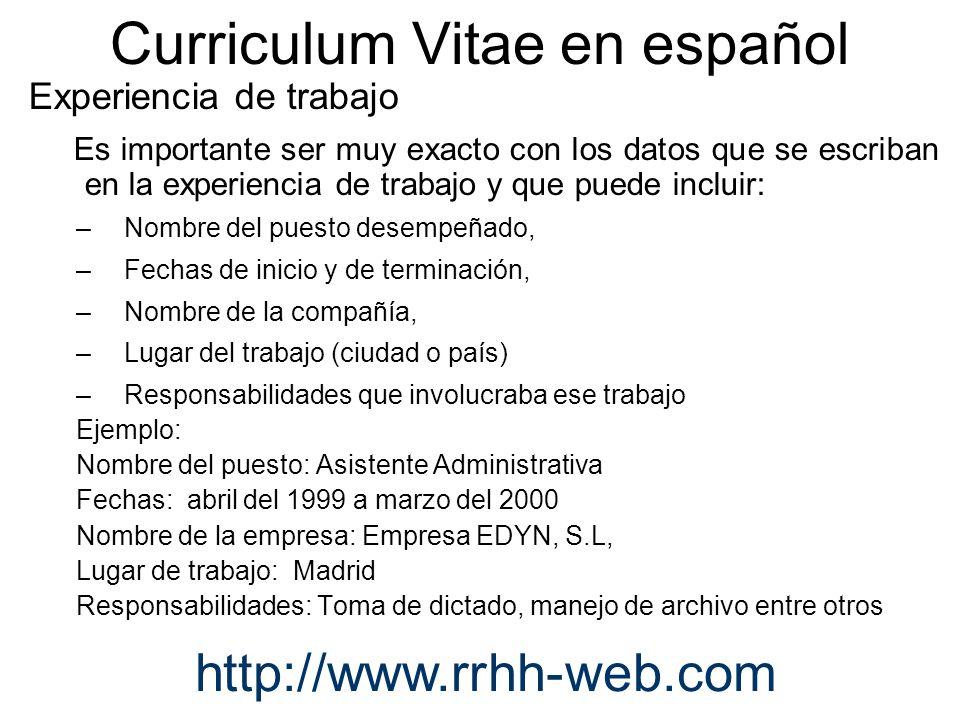 curriculum vitae en espanol - Yelomdigitalsite