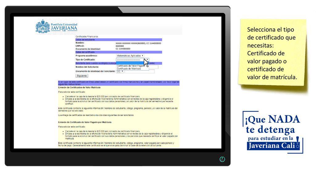 Instructivo para descargar certificados financieros - ppt descargar