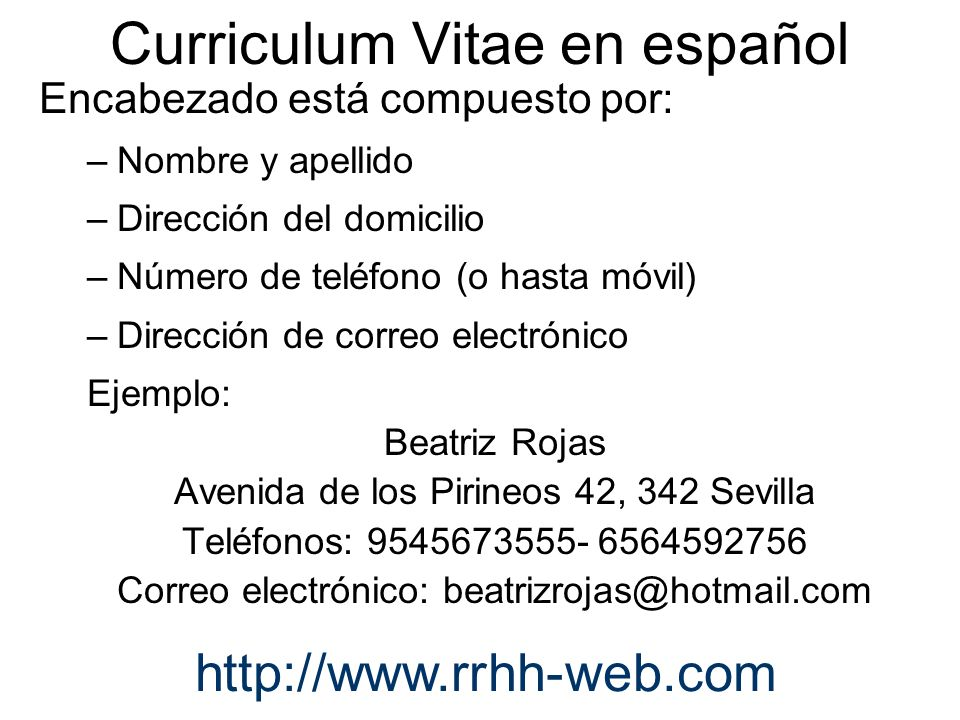 An example of curriculum vitae Term paper Academic Writing Service