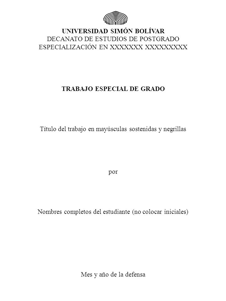 PORTADA NORMAS GENERALES PARA LA ORGANIZACIÓN Y PRESENTACIÓN DE LOS