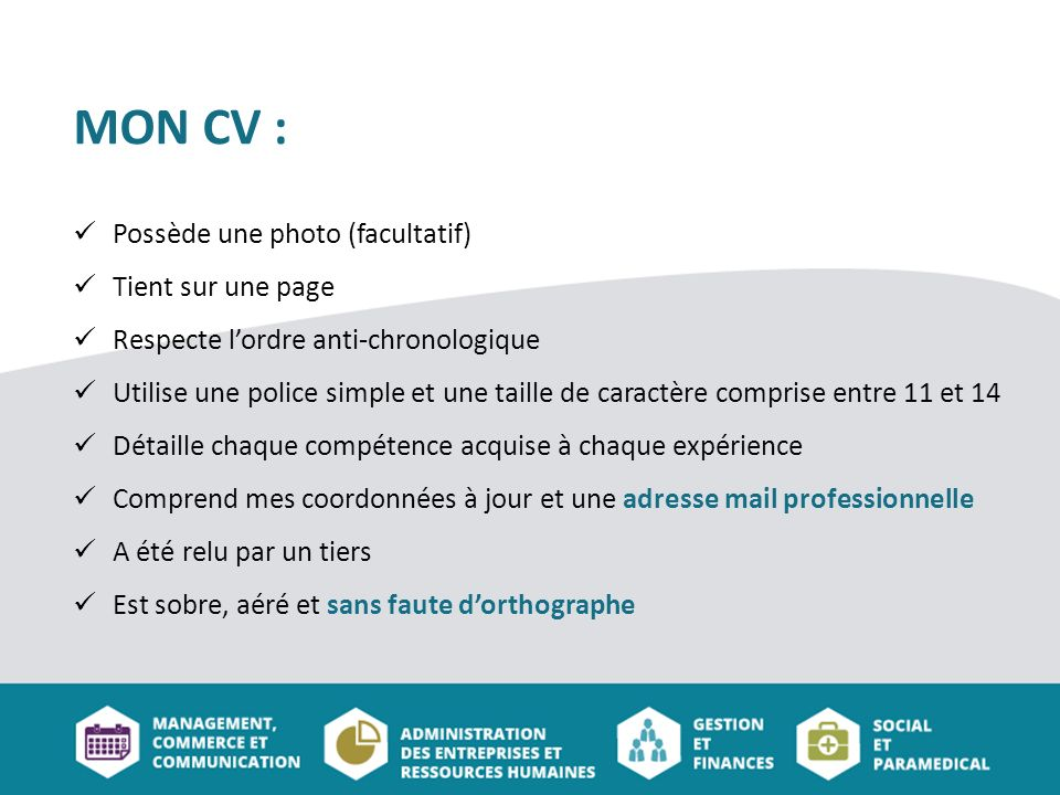 experience professionnelle cv ordre