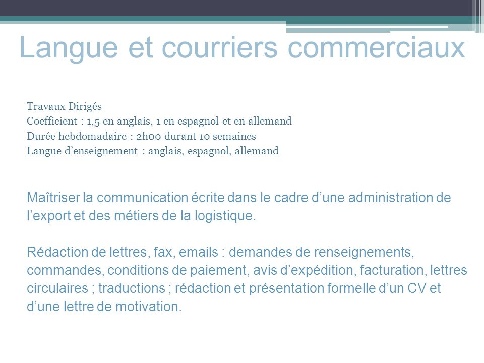 langues apprise dans un cv commercial export
