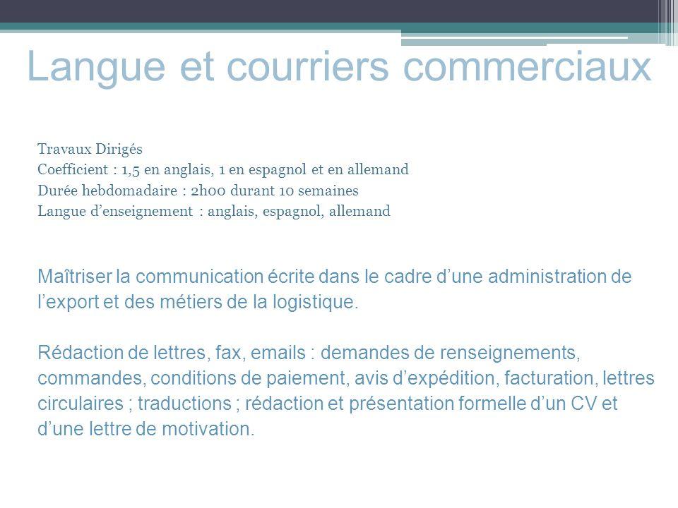 langues apprise dans un cv commercial export
