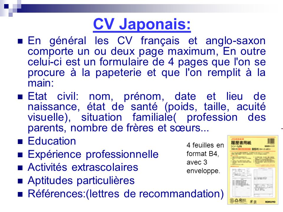 cv francais etat civil