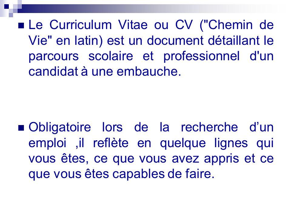 cv a la recherche d un emploi