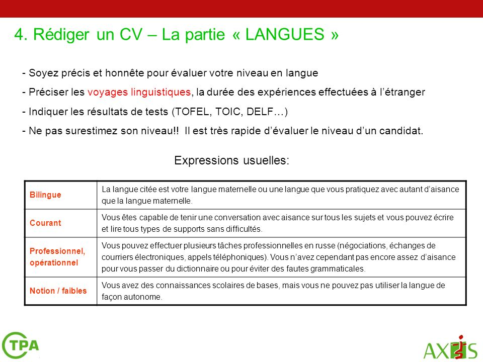 prsenter son niveau de langue cv