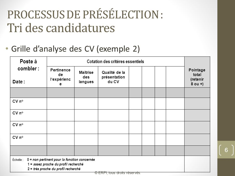 exemple grille de preselection cv