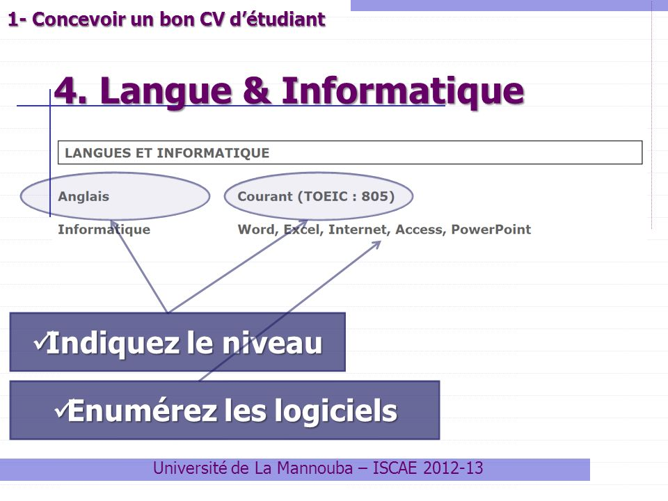 decrire un niveau de langue sur un cv