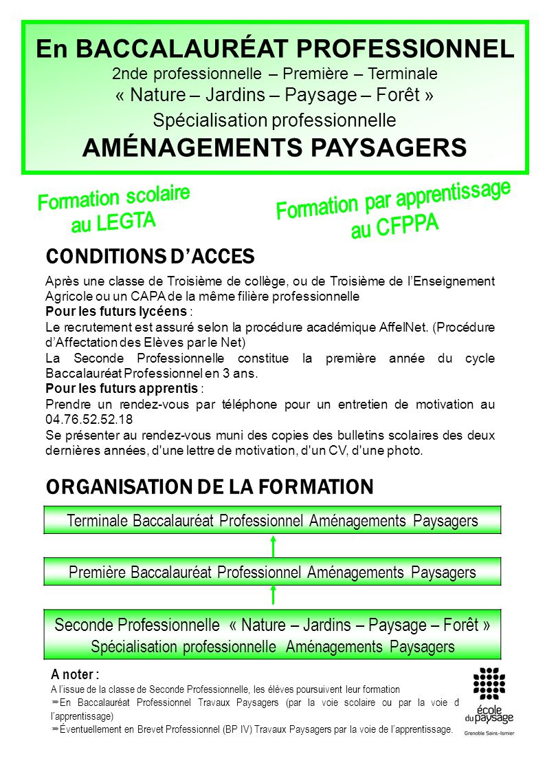 cv formation apprentissage amenagements paysager