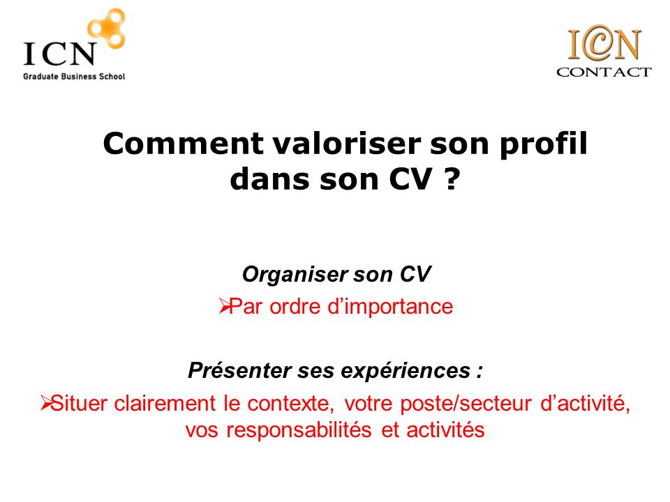 comment organiser son cv
