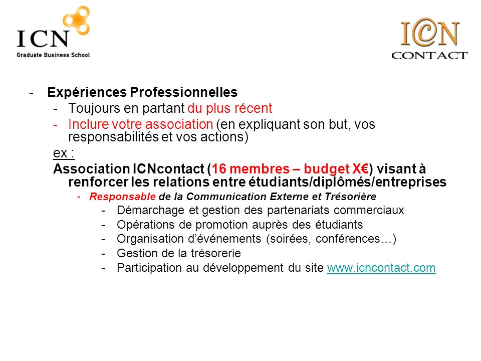 association etudiants anglais cv