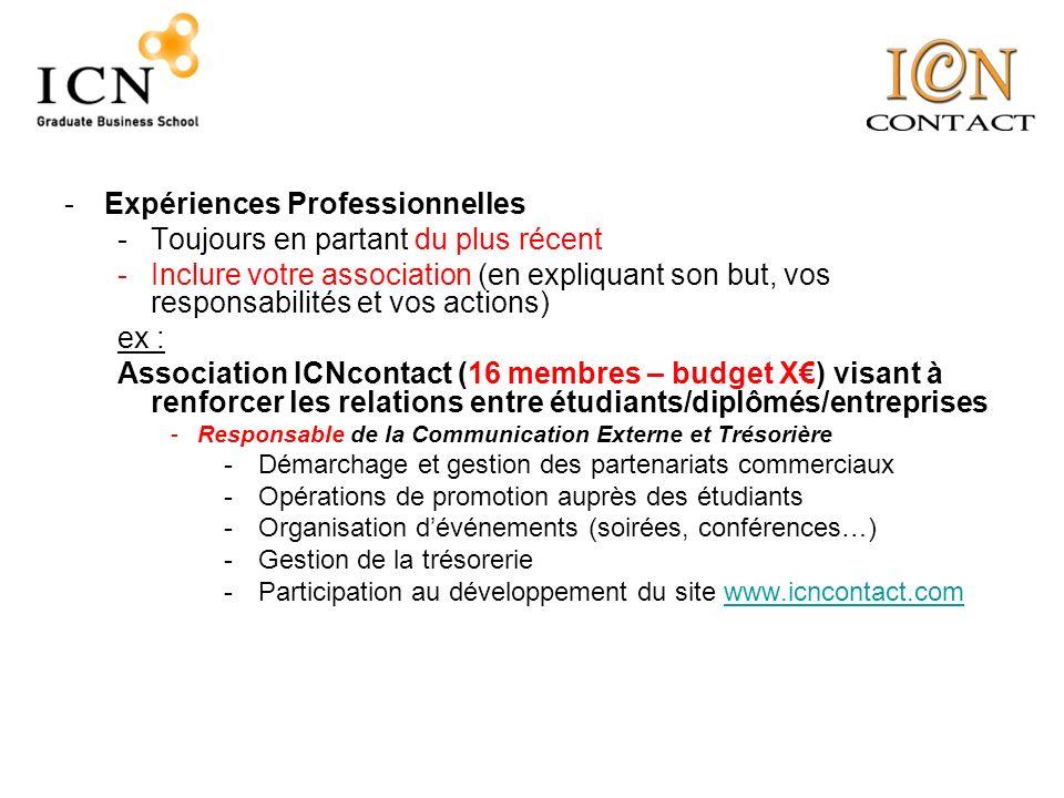 cv inclure competences dans experiences professionnelles