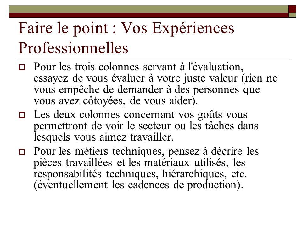 cv decrire experiences professionnelles