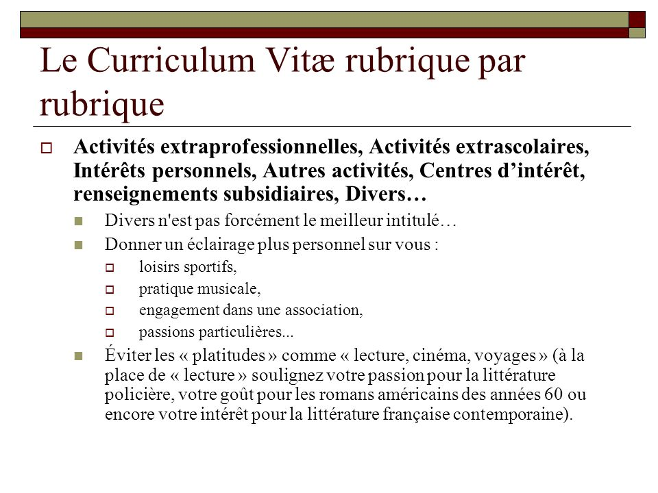 cv interets lecture litterature