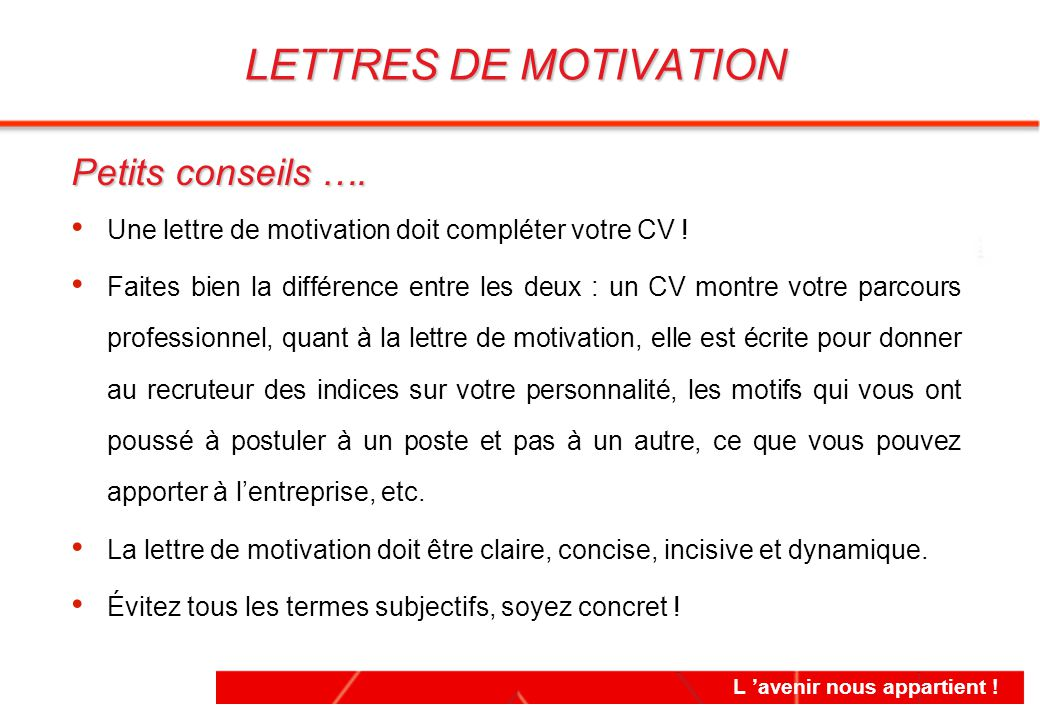 difference entre cv et lettre de motivation pdf
