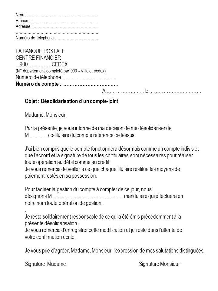 lettre resiliation dun compte bancaire