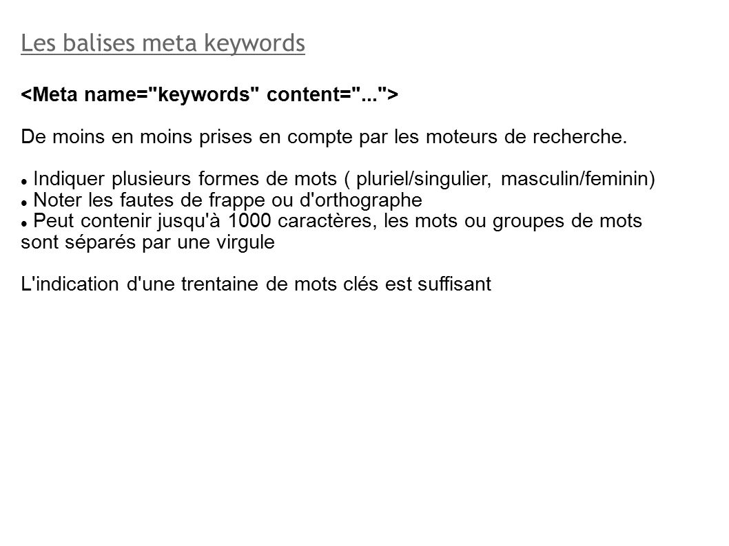 Meta Name Keywords Webmarketing Le Referencement Ppt Télécharger