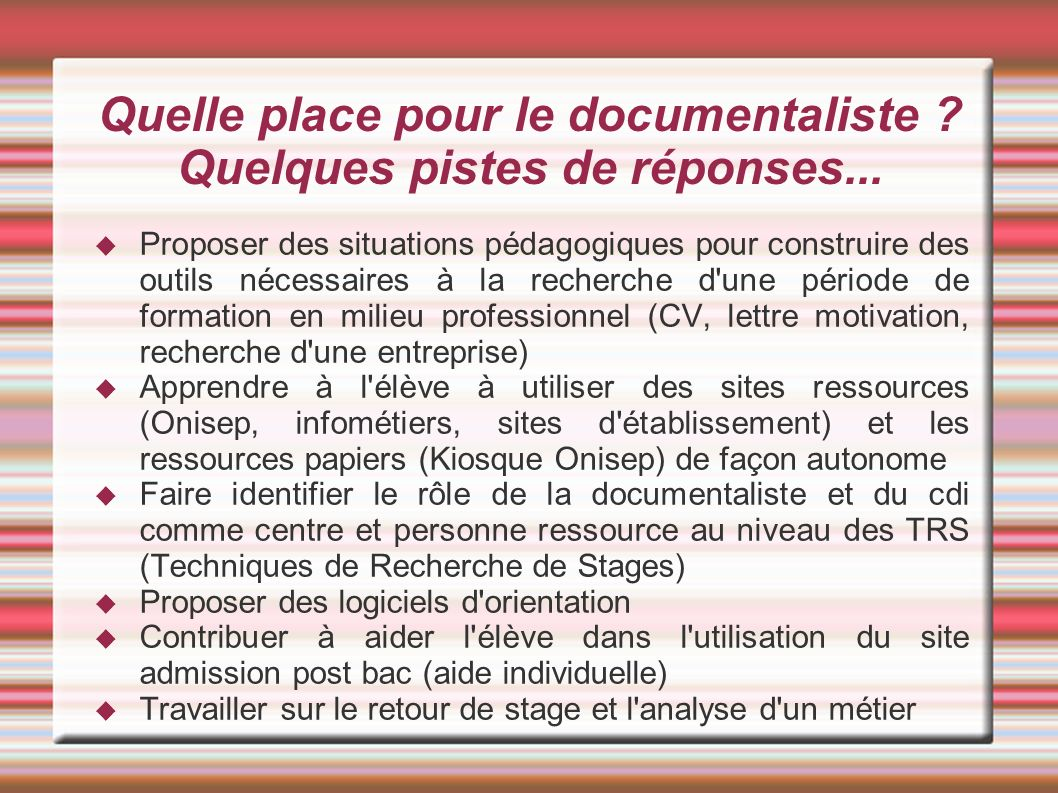 cv documentaliste stages