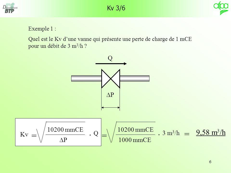 calcul cv vanne