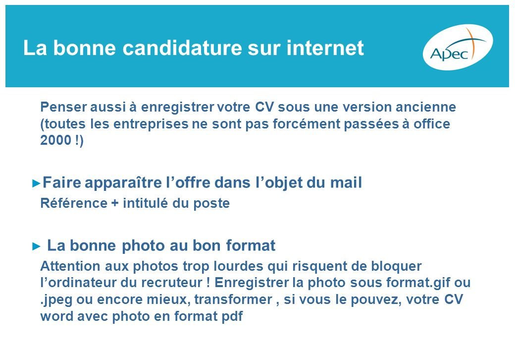 faire apparaitre promotion cv